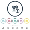 Calendar alarm flat color icons in round outlines - Calendar alarm flat color icons in round outlines. 6 bonus icons included.