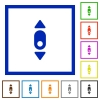 Mouse scroll down flat framed icons - Mouse scroll down flat color icons in square frames on white background