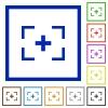 Camera crosshairs flat framed icons - Camera crosshairs flat color icons in square frames on white background