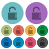 Unlocked combination lock with side numbers color darker flat icons - Unlocked combination lock with side numbers darker flat icons on color round background