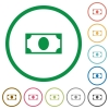 Single banknote flat icons with outlines - Single banknote flat color icons in round outlines on white background