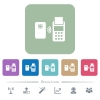 Contactless payment flat icons on color rounded square backgrounds - Contactless payment white flat icons on color rounded square backgrounds. 6 bonus icons included