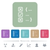 Source code checking flat icons on color rounded square backgrounds - Source code checking white flat icons on color rounded square backgrounds. 6 bonus icons included