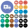 Fast delivery truck round flat multi colored icons - Fast delivery truck multi colored flat icons on round backgrounds. Included white, light and dark icon variations for hover and active status effects, and bonus shades.