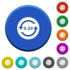 24 hours sticker with arrows beveled buttons - 24 hours sticker with arrows round color beveled buttons with smooth surfaces and flat white icons