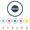 Sale badge flat color icons in round outlines. 6 bonus icons included. - Sale badge flat color icons in round outlines