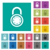 Locked round combination lock square flat multi colored icons - Locked round combination lock multi colored flat icons on plain square backgrounds. Included white and darker icon variations for hover or active effects.