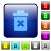 Delete color square buttons - Delete icons in rounded square color glossy button set