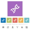 DNA molecule flat white icons in square backgrounds - DNA molecule flat white icons in square backgrounds. 6 bonus icons included.