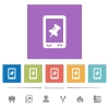 Mobile pin data flat white icons in square backgrounds. 6 bonus icons included. - Mobile pin data flat white icons in square backgrounds