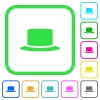 Silk hat vivid colored flat icons in curved borders on white background - Silk hat vivid colored flat icons