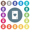 Four of hearts card flat white icons on round color backgrounds - Four of hearts card flat white icons on round color backgrounds. 17 background color variations are included.