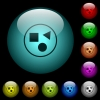 Grouping elements icons in color illuminated glass buttons - Grouping elements icons in color illuminated spherical glass buttons on black background. Can be used to black or dark templates