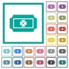 Lottery ticket flat color icons with quadrant frames - Lottery ticket flat color icons with quadrant frames on white background