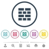 Brick wall flat color icons in round outlines - Brick wall flat color icons in round outlines. 6 bonus icons included.