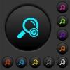 Search engine optimization dark push buttons with color icons - Search engine optimization dark push buttons with vivid color icons on dark grey background