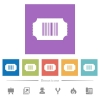 Ticket with barcode flat white icons in square backgrounds - Ticket with barcode flat white icons in square backgrounds. 6 bonus icons included.