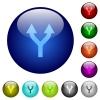 Split arrows up color glass buttons - Split arrows up icons on round color glass buttons