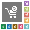 Checkout with new Shekel cart square flat icons - Checkout with new Shekel cart flat icons on simple color square backgrounds
