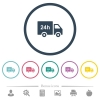 24 hour delivery truck flat color icons in round outlines - 24 hour delivery truck flat color icons in round outlines. 6 bonus icons included.