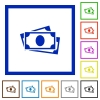 More banknotes flat framed icons - More banknotes flat color icons in square frames on white background