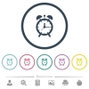Alarm clock flat color icons in round outlines - Alarm clock flat color icons in round outlines. 6 bonus icons included.