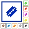 Razor blade flat color icons in square frames on white background - Razor blade flat framed icons