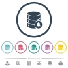 Database notifications flat color icons in round outlines. 6 bonus icons included. - Database notifications flat color icons in round outlines