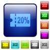 20 percent discount coupon color square buttons - 20 percent discount coupon icons in rounded square color glossy button set