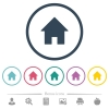 Home flat color icons in round outlines - Home flat color icons in round outlines. 6 bonus icons included.