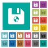 Protect file square flat multi colored icons - Protect file multi colored flat icons on plain square backgrounds. Included white and darker icon variations for hover or active effects.