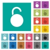 Unlocked round padlock square flat multi colored icons - Unlocked round padlock multi colored flat icons on plain square backgrounds. Included white and darker icon variations for hover or active effects.