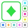 Diamond card symbol vivid colored flat icons - Diamond card symbol vivid colored flat icons in curved borders on white background