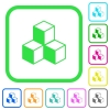 Cubes vivid colored flat icons in curved borders on white background - Cubes vivid colored flat icons