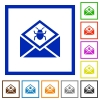 Open mail with malware symbol flat framed icons - Open mail with malware symbol flat color icons in square frames on white background