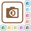 Monochrome photos simple icons - Monochrome photos simple icons in color rounded square frames on white background