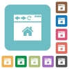 Browser home page rounded square flat icons - Browser home page white flat icons on color rounded square backgrounds