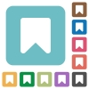 Bookmark rounded square flat icons - Bookmark white flat icons on color rounded square backgrounds