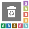Recycle bin square flat icons - Recycle bin flat icons on simple color square backgrounds