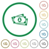 More banknotes with portrait flat icons with outlines - More banknotes with portrait flat color icons in round outlines on white background