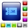 Swimming pool discount coupon color square buttons - Swimming pool discount coupon icons in rounded square color glossy button set