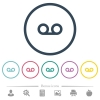 Voicemail flat color icons in round outlines - Voicemail flat color icons in round outlines. 6 bonus icons included.