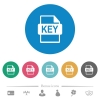 Private key file of SSL certification flat round icons - Private key file of SSL certification flat white icons on round color backgrounds. 6 bonus icons included.