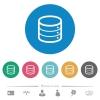 Single database flat white icons on round color backgrounds. 6 bonus icons included. - Single database flat round icons