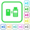 Contactless payment vivid colored flat icons - Contactless payment vivid colored flat icons in curved borders on white background