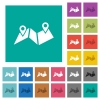 Route plan square flat multi colored icons - Route plan multi colored flat icons on plain square backgrounds. Included white and darker icon variations for hover or active effects.