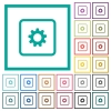 Object settings flat color icons with quadrant frames - Object settings flat color icons with quadrant frames on white background