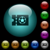 Soccer discount coupon icons in color illuminated glass buttons - Soccer discount coupon icons in color illuminated spherical glass buttons on black background. Can be used to black or dark templates