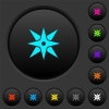 Compass dark push buttons with color icons - Compass dark push buttons with vivid color icons on dark grey background