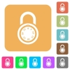 Locked round combination lock rounded square flat icons - Locked round combination lock flat icons on rounded square vivid color backgrounds.